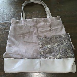 Handbags - Grey Faux Suede/Leather Camo Print Tote.
